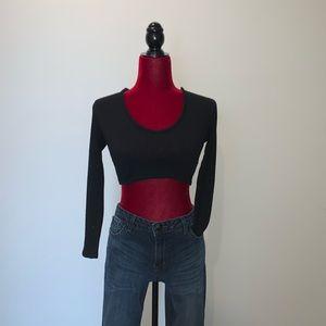 Fashion Nova Ribbed Crop Top Hoodie Size M